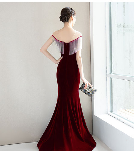 Temperament Elegant Tassel Floor-length Women Dress Gold Velvet Trumpet Mermaid Vintage Beading Dresses Woman