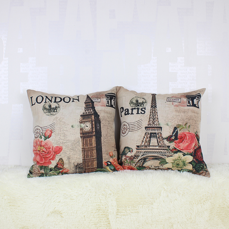 45 45cm vintage eiffel tower big ben paris throw pillow case sofa seat cheap
