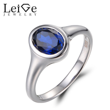 Leige Jewelry Oval Cut Sapphire Ring Wedding Ring September Birthstone Real 925 Sterling Silver Vintage Rings Blue Gemstone Ring