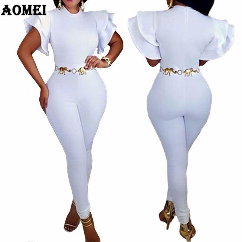 Women Overalls Sheath White Jumpsuit Short Sleeves O Neck Zipper Ruffles Elegant Femme Office Classy Wear Casual Fashion Elastic