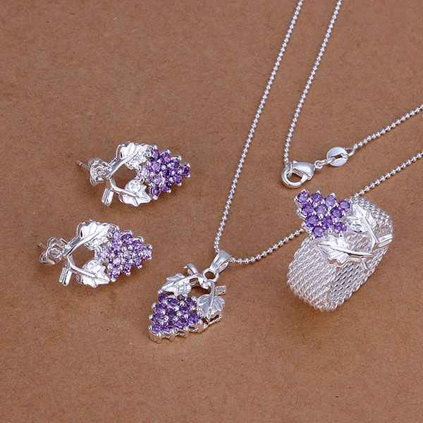 S136 925 Hot Silver Color Jewelry Sets For Women Fashion Jewelry Set Purple Grape Ring Earrings Necklace S136 /aktajcaa Awlajnsa