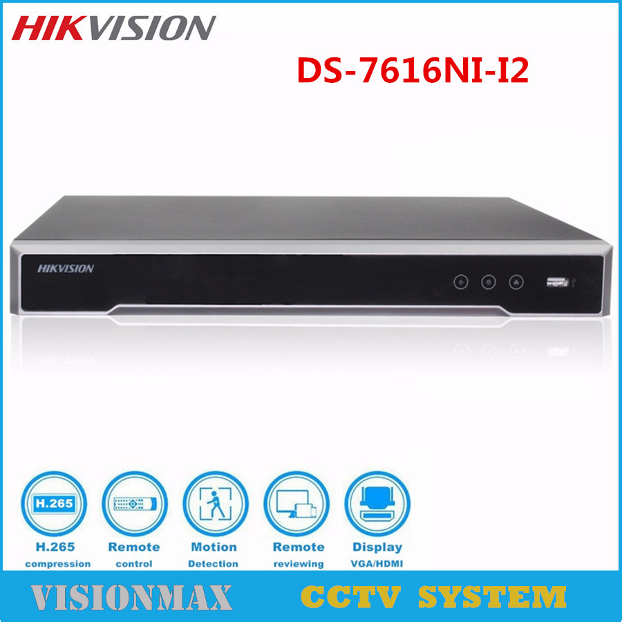 Hikvision DS 7616NI I2 16CH NVR HD CCTV recorder H 265 up to 12MP with 2SATA
