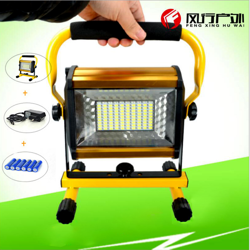 Led Flood Light Reflector Searchlight Led Spotlight Outdoor Lighting Lamp 100W+6x18650 Battery+Charger