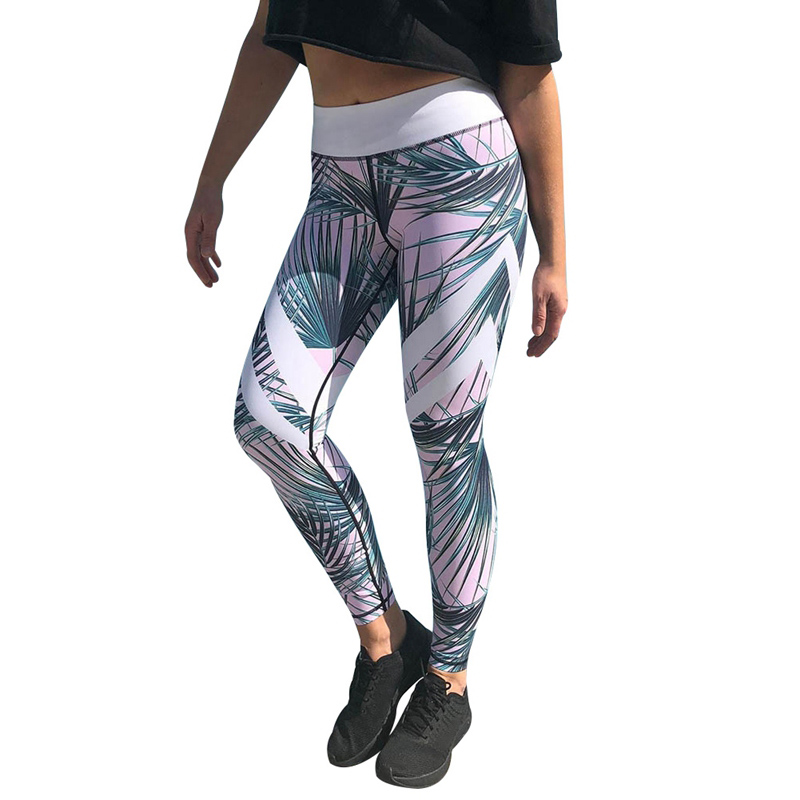 Women Pant Flower/Leaves 3D Print Sport Pants  Elastic Fitness Capris Training Tights High Waist Slim Trouser