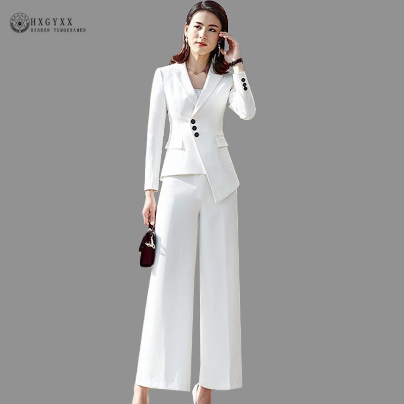 Elegant Autumn Pantsuit Formal Trouser Suit Women Business Blazer Feminino Office Lady Pant Suit Asymmetry White Uniform B134