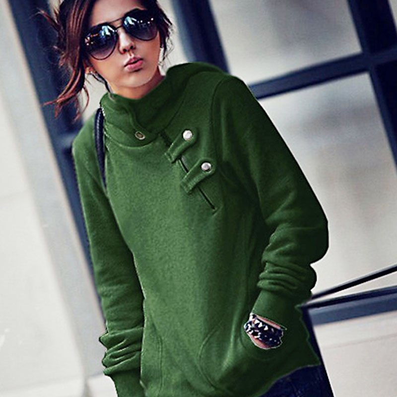 Meaneor Fashion Autumn Women Pullover Long Sleeve Women Hoodie Sweatshirt Solid Autumn Pullover Gray Green Casual Female Hoodies
