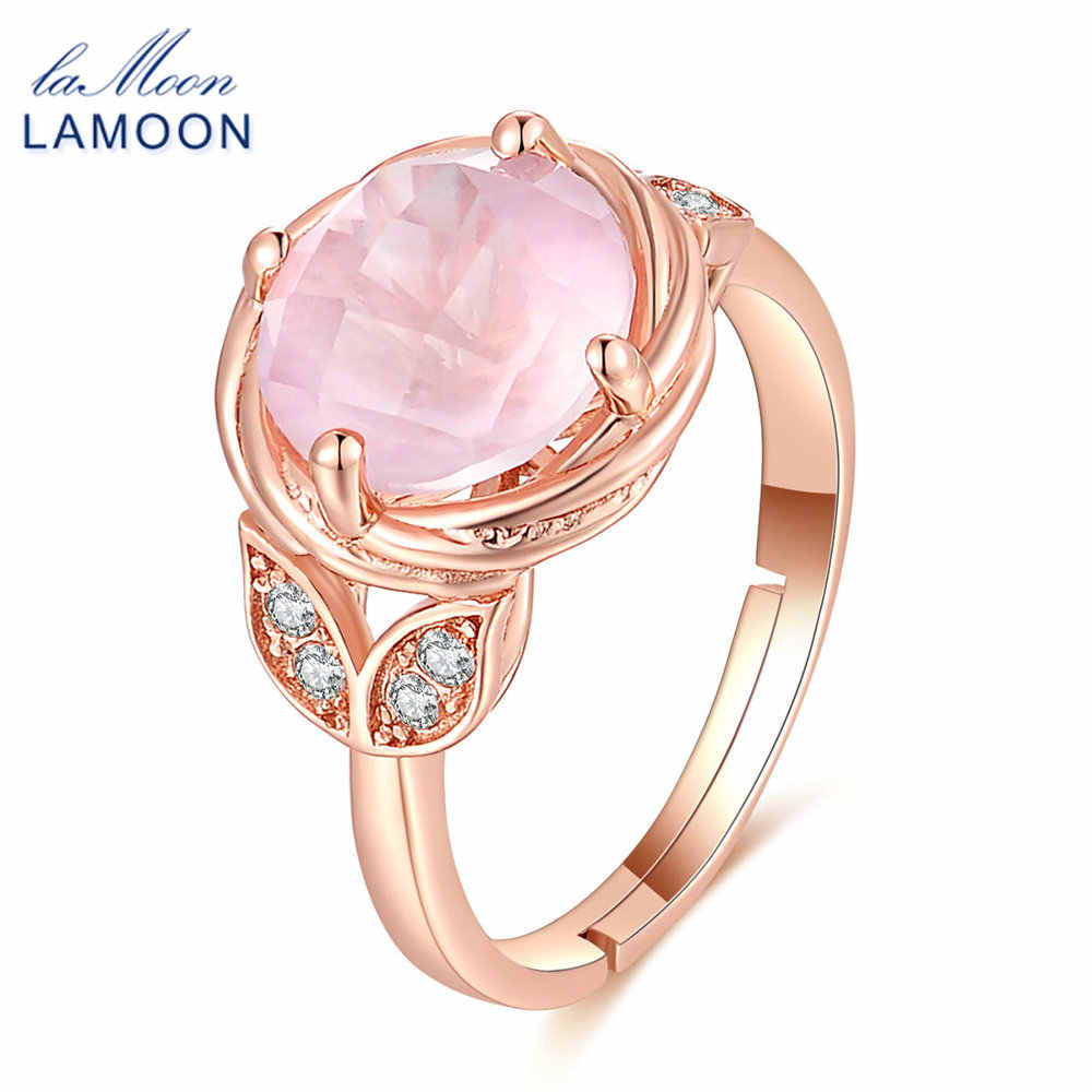 LAMOON- Flower 9mm 100% Natural Round Pink Rose Quartz Ring 925 Sterling Silver Jewelry  Romantic Wedding Band LMRI016