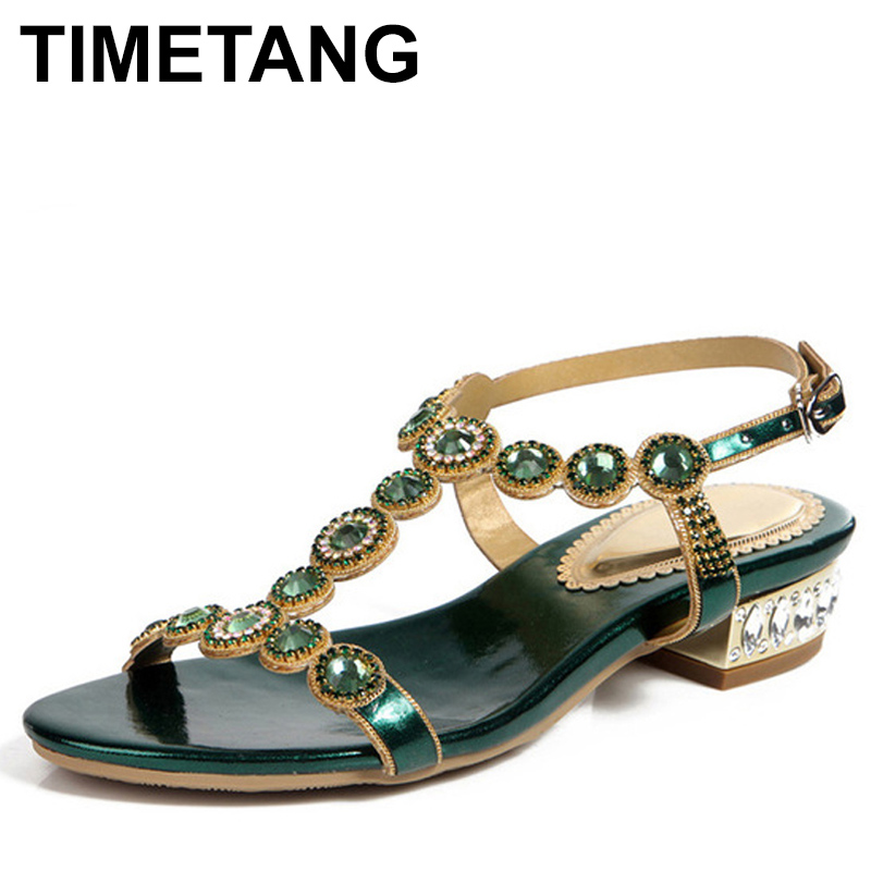 TIMETANG Women Green Rhinestone Sandals T strap Square Heel 2 5cm Low heeled Sandals Party Shoes