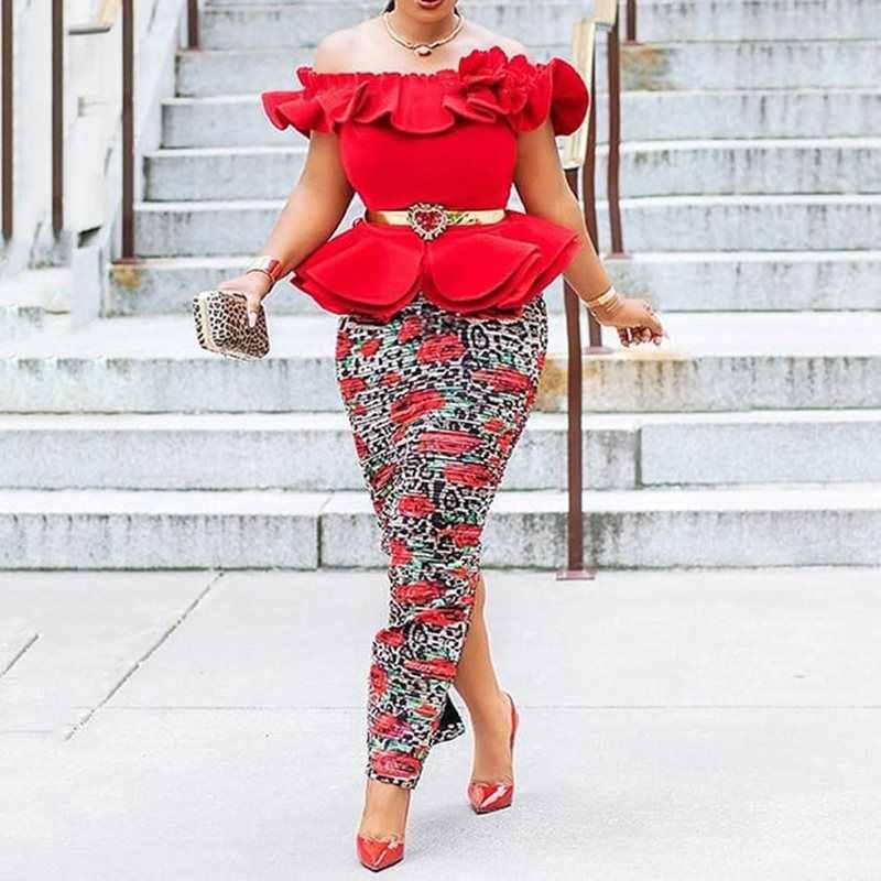Le donne Africane Del Partito Vestito Lungo Sexy Rosso Elegante Più Il Formato Aderente con Spalle Falbala Spaccato Femminile del Club Abiti Da Sera Maxi