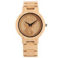 Casual Men Women Entire Bamboo Watch Cool Elk Deer Head Pattern Minimalist Wooden Quartz Wristwatch Special Full Wood Gift Clock