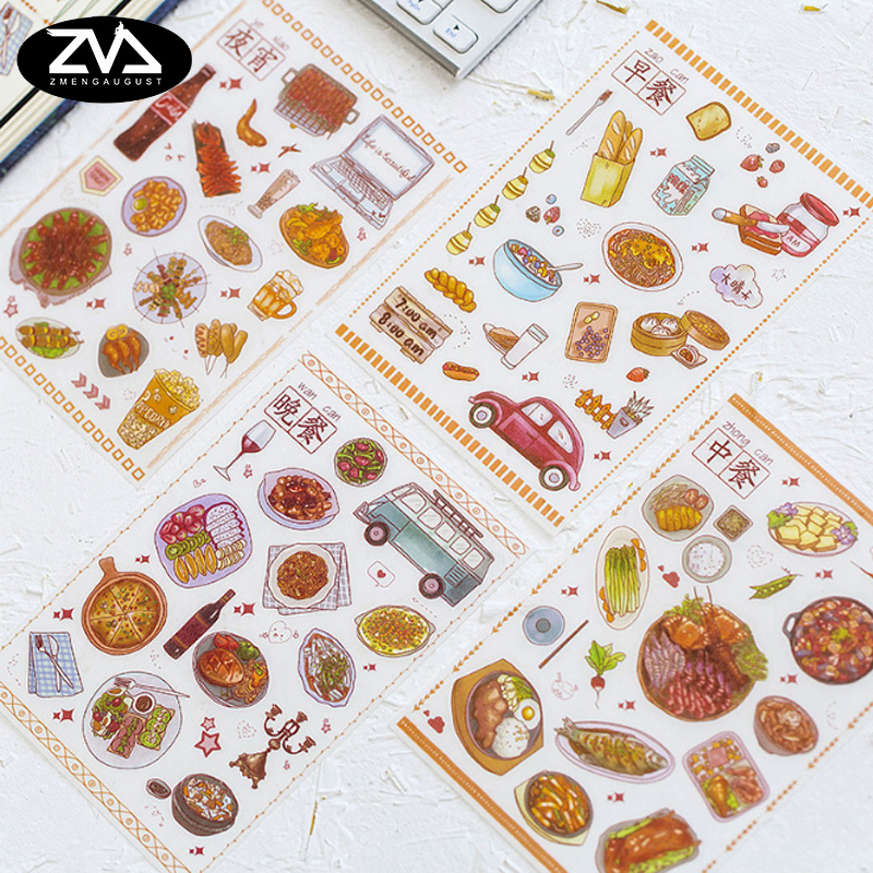 5pcs/lot Creative snacks Cartoon sticker child diy toy Album Deco sticker scrapbooking seal sticker kawaii stationery