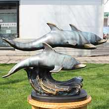 Three dolphins marine bronze statue Home Furnishing series Copper Crafts Ornament Hotel soft decoration gift