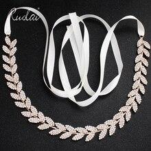 New Handmade Crystal Wedding Belt Shiny Rhinestone Stones Rose Gold Bridal Sashes Jewelry Formal Evening Dress FB1