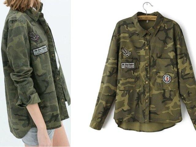 Invierno mujer camisas blusa blusas casuais das mulheres ao ar livre 2016 camisa camisetas y tops femininas Camuflagem marca camuflaje