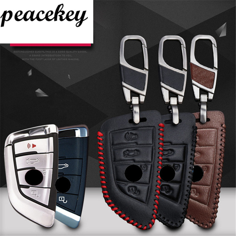 Peacekey holder Car Key Case Pour BMW F30 F20 X1 X3 X5 X6 X7 F20 E34 E90 E60 E36 Smart-2/3 bouton Véritable Couvercle du Clavier en cuir sac