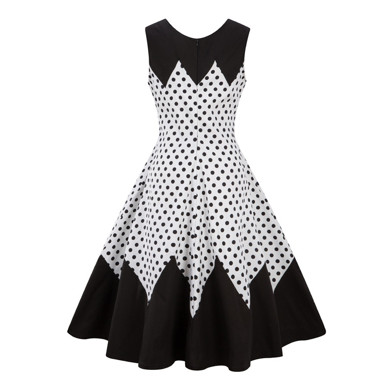 OL Style Summer Dress Plus Size S-4XL Women Retro Dress 50s 60s Vintage  O-neck Dot Print Dress