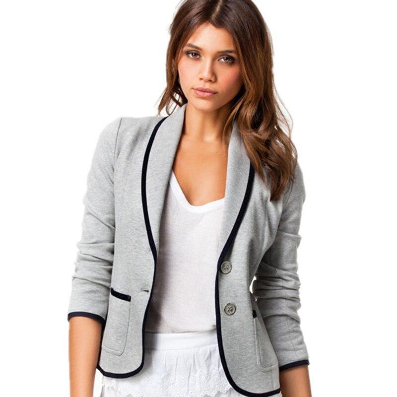 College Style Women Full Sleeve Blazers Spring Autumn  Plus Size Suit Jacket Work Office Lady Suit  Women Slim Button Basic Coat