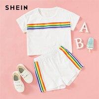 SHEIN/белый топ в радужную полоску с принтом и шорты комплект одежды из двух предметов для девочек 2019 г. летняя модная детская одежда с коротки...
