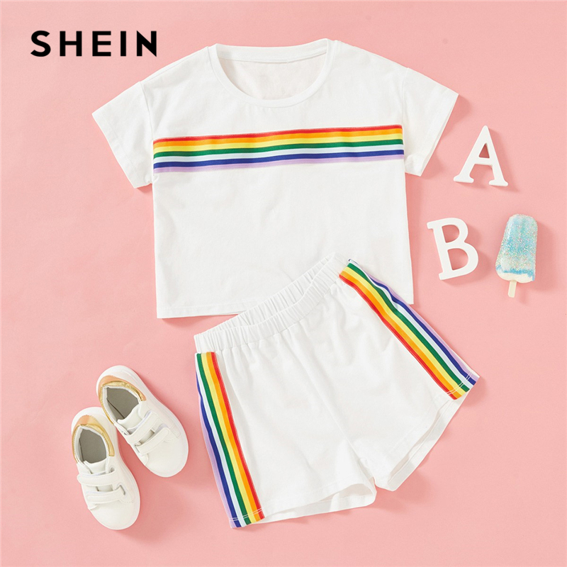SHEIN White Rainbow Striped Print Top And Shorts Two Piece Set Girls Clothing 2019 Summer Fashion Short Sleeve Children Clothes hollow out two piece dress