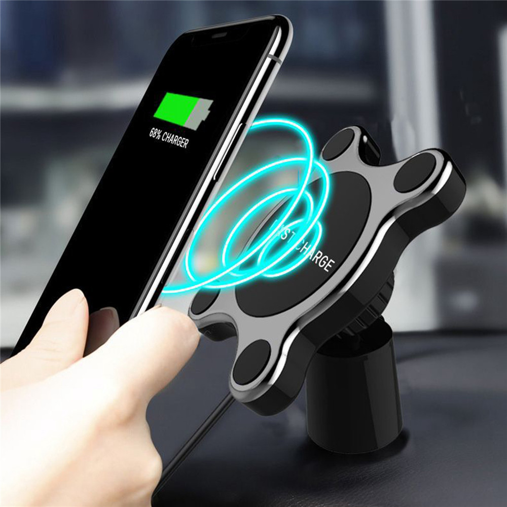 Car Mount Wireless Fast Charger For iphone X 8 Dual Use Magnetic Quick Wireless Charging Pad Car Holder Stand For Samsung 10W