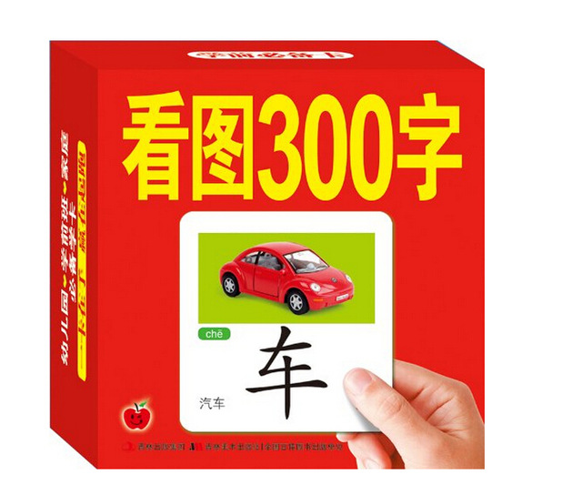 300 Chinese Characters With Picture  Chinese English Learning Cards 3 To 6 Year-olds Baby Early Learning Reading Cards