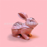 European Chinese style Metal enamel painted Diamond Rabbit model,home desktop decor decoration ornaments(A620)