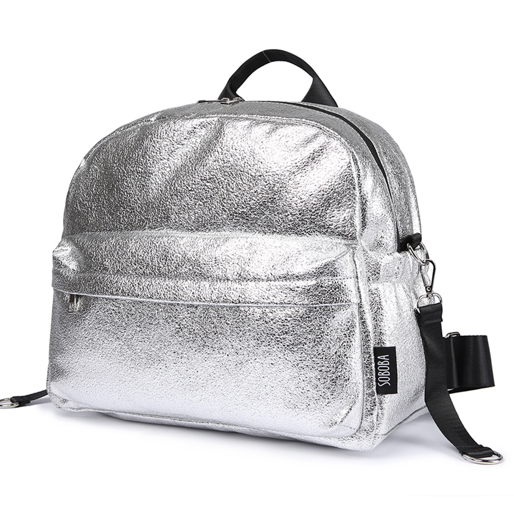 Soboba Textured Silver Travelling Diaper Bag Fashionable Large Capacity Nappy Bags Stylish Maternity Baby Stroller Bags