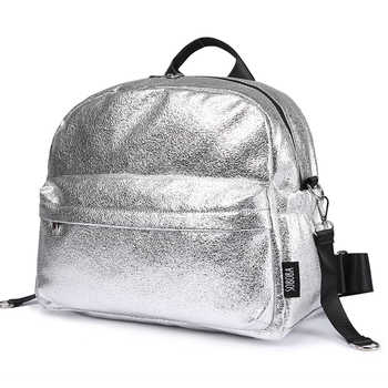 Soboba Textured Silver Travelling Diaper Bag Fashionable Large Capacity Nappy Bags Stylish Maternity Baby Stroller Bags/Backpack - DISCOUNT ITEM  0% OFF All Category
