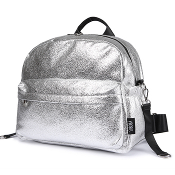 Soboba Textured Silver Travelling Diaper Bag Fashionable Large Capacity Nappy Bags Stylish Maternity Baby Stroller Bags/Backpack