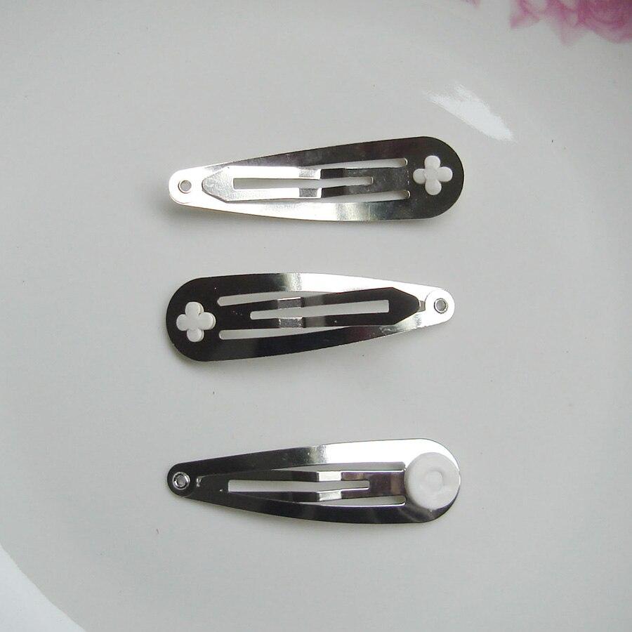 10 шт. 5,0 см металлические заколки для волос DIY детский бант для волос простые заколки без никеля без свинца - Цвет: Silver hair clips