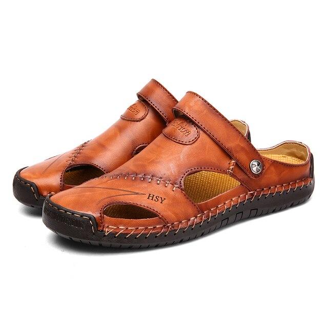 Мужские кожаные сандалии в классическом стиле, красно-коричневые сандалии с резиновой подошвой, для улицы и пляжа, обувь для походов, обувь ... 3