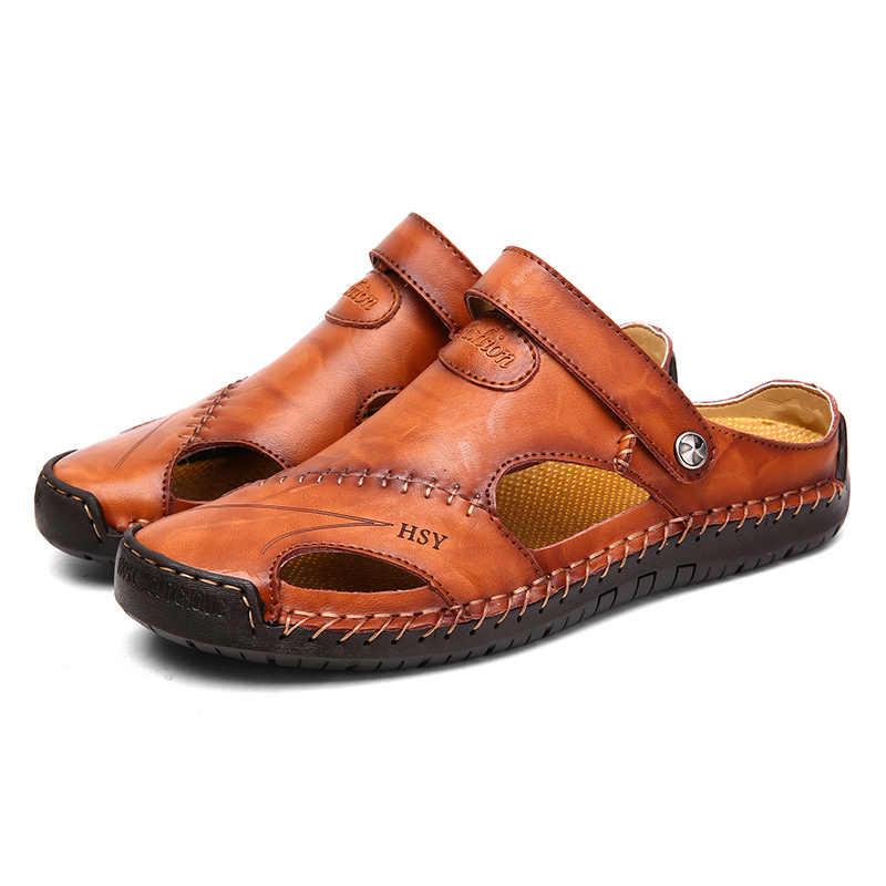 ฤดูร้อนรองเท้าแตะชายหนังคลาสสิกโรมันรองเท้าแตะ 2019 รองเท้าแตะกลางแจ้งรองเท้าชายหาด Flip Flops ผู้ชาย Trekking รองเท้าแตะ
