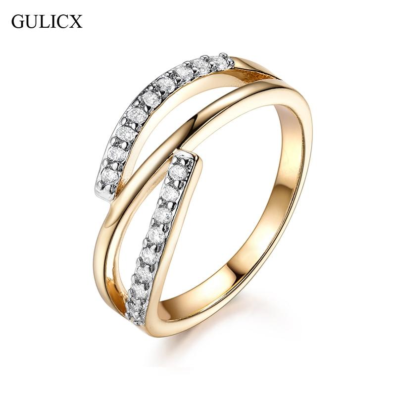 GULICX Sparkling Twist Of Fate Clear CZ Women Rings Cubic Zirconia Stone Accessories Wedding Jewelry Birthday Gift