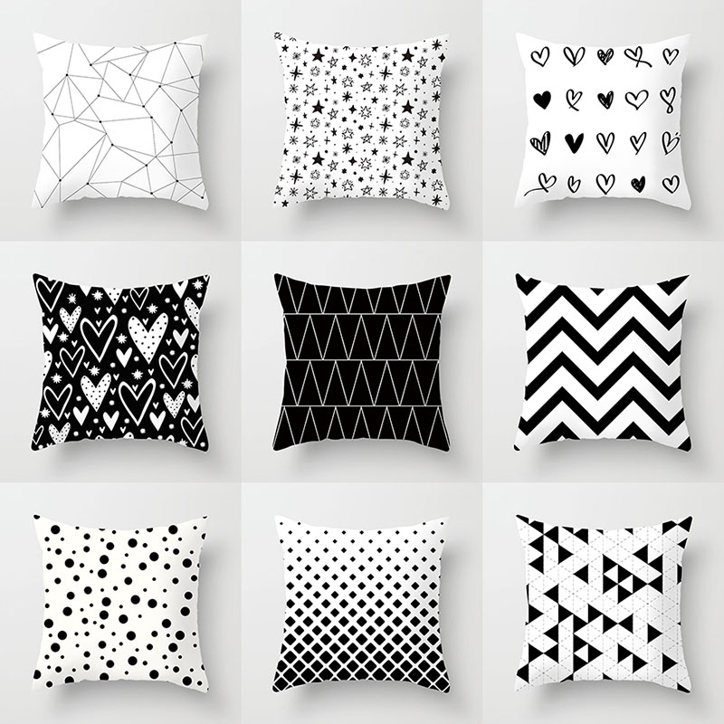 YWZN Black and White Geometric Decorative Pillowcases Polyester Throw Pillow Case Striped Geometric Pillowcase kussensloop(China)