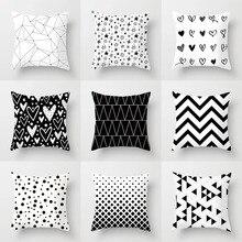 YWZN черно-белые геометрические декоративные наволочки из полиэстера наволочка в полоску с геометрическим рисунком наволочка kussensloop