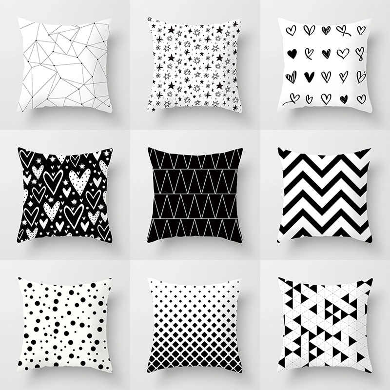 YWZN Black and White Geometric Decorative Pillowcases Polyester Throw Pillow Case Striped Geometric Pillowcase kussensloop