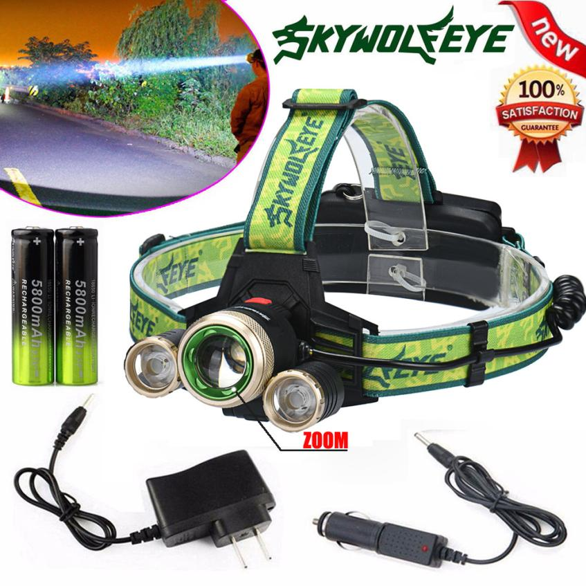 2017 NEW ZOOM 15000Lm Headlamp CREE XM-L 3 x T6 LED Headlight 18650 Light Charger Battery 724 удлинитель zoom ecm 3