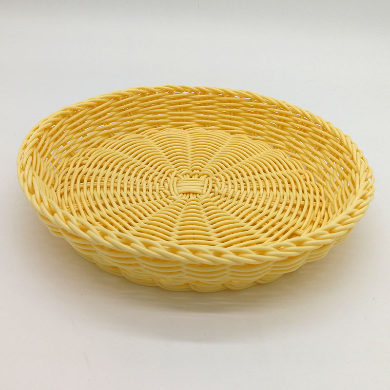 6PCS round imitation rattan basket shallow dish hot pot restaurant dishware commercial creative personality plastic snack blue f