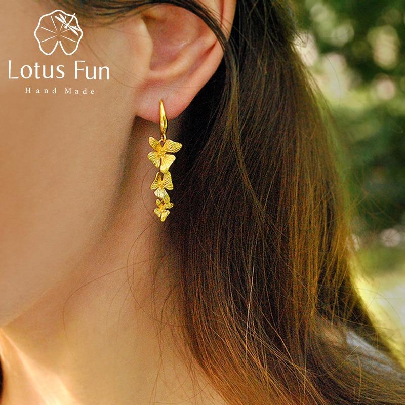 Lotus Fun Real 925 Sterling Silver Natural Original Handmade Fine Jewelry Triple Flowers Fashion Drop Earrings