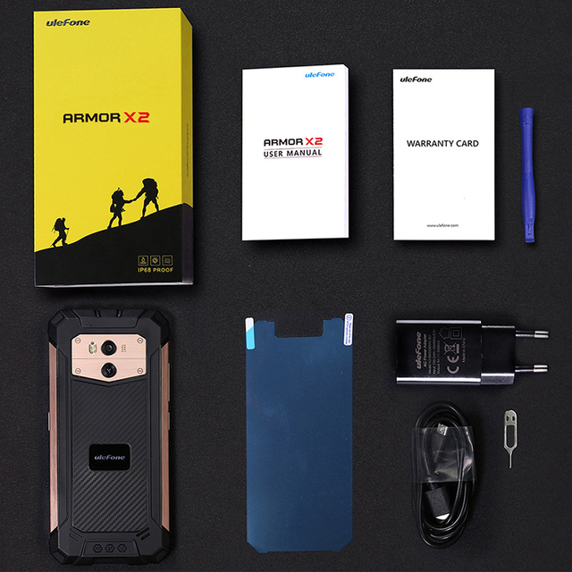 Original Ulefone Armor X2 IP68 Waterproof Mobile Phone Android 8.1 5.5 inch HD Quad Core 2GB+16GB NFC Face ID 5500mAh Smartphone