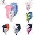 Conjuntos de Impressão Colorido Dos Desenhos Animados Da Menina do menino da Roupa Do Bebê recém-nascido Bodysuit Macacão de Manga Curta Bonito moda Bebe crianças Traje 3 pcs