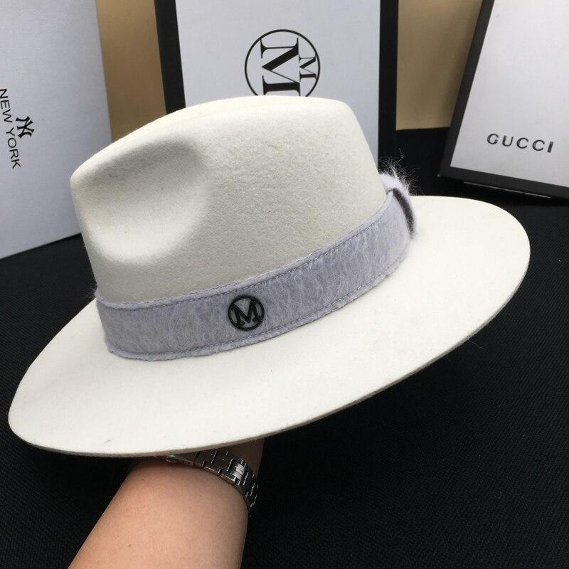 Sombrero de lana señor tapa caballero blanco sombrero de moda debajo sombreros - 3