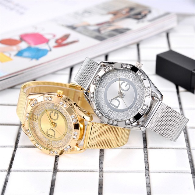 Women Dress Watches Stainless Steel Exquisite Watch Women Rhinestone Luxury Casu