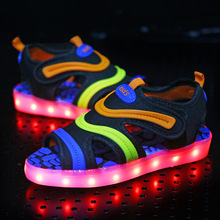 New Summer Bright Mixed Color USB Charging LED Light Beach Sandals Kid Anti Slippery Children Luminous Casual Shoes Boy And Girl