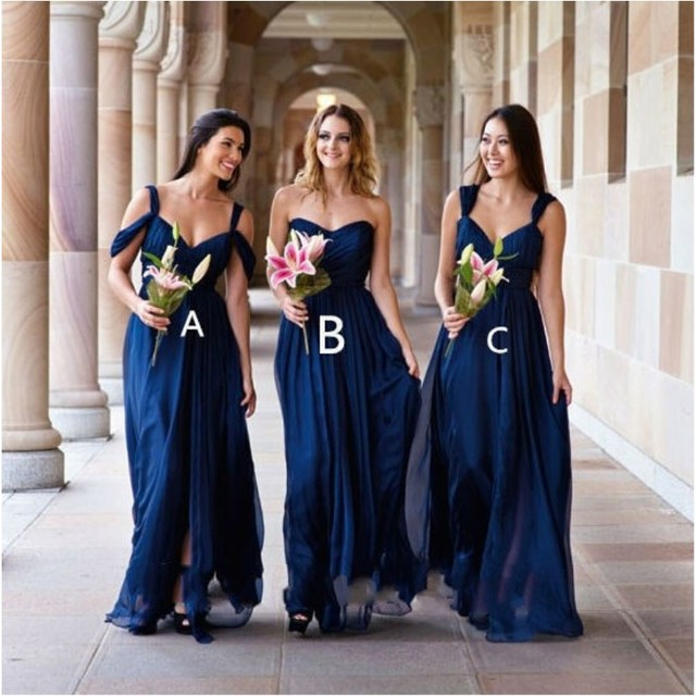 Long Sweetheart Chiffon Different Style Bridesmaid A line Dress Prom ...