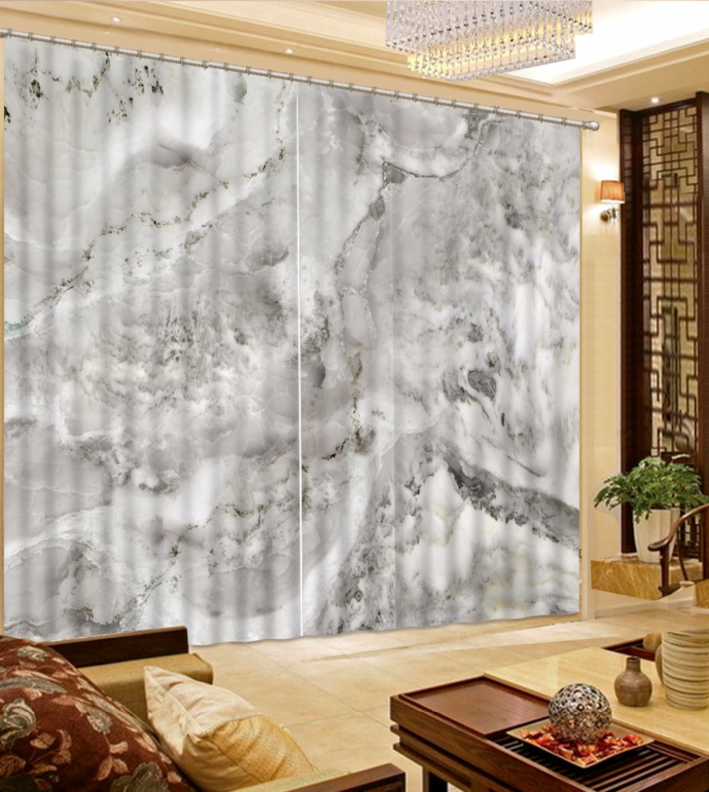 Blank White Curtain Marble pattern 3D Curtains For Living room ...
