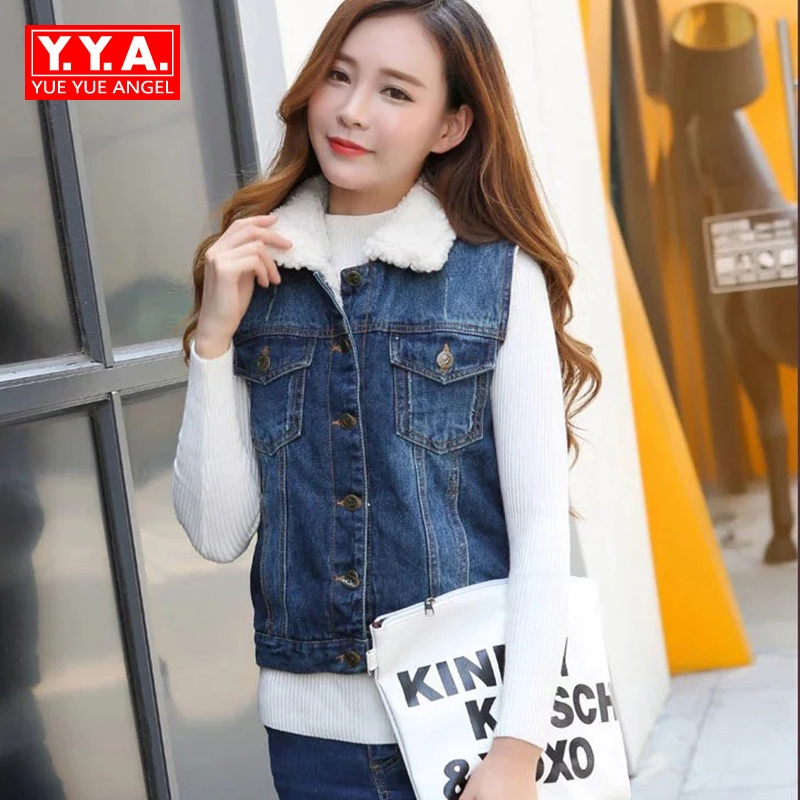 427528a9008 Elegant Ladies New Winter Warm Fur Lining Colete Feminino De Inverno Turn  Down Collar Fashion Streetwear Jeans Womens Vest Coat-in Vests   Waistcoats  from ...