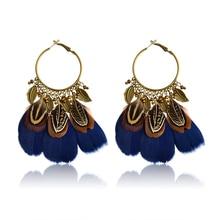 Ethnic Feather Drop Earrings Indian Leaves Beads Colorful Feather Tassels Dangles Earrings For Women Girl Boho Ear Jewelry Gift