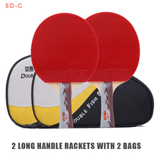 Doublefish 5star 7 layers table tennis racket flared handle paddle basswood Ayous fast attack loop for beginner 2 rackets 2 bags