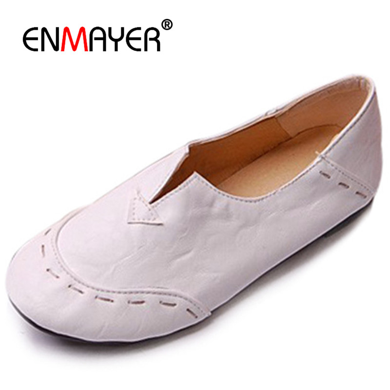 ENMAYER Most Popular Portable Women Shoes Loafers Casual Shoes Charming Flats Shoes Soft Leather Big Size 34-43 Comfortable цены